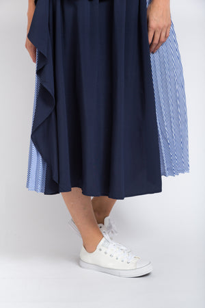 Ruffle Stripe Skirt Navy