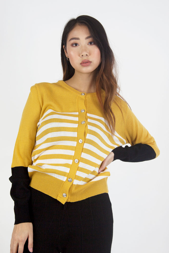 Stripe Knit Cardigan Yellow