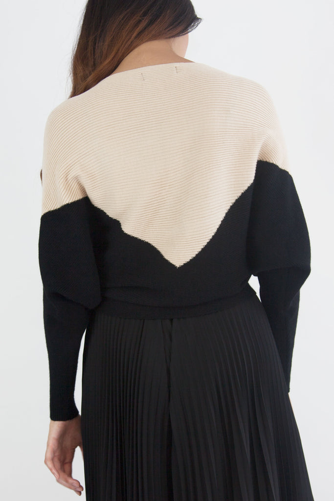 Two Tone Knitted Jumper Beige