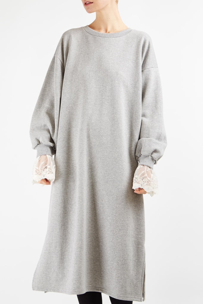 Lace Sleeve Jumper Dress Grey