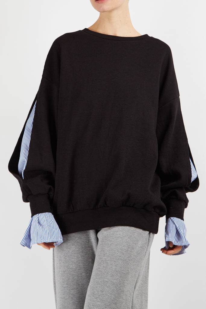 Slit Sleeve Jumper Black