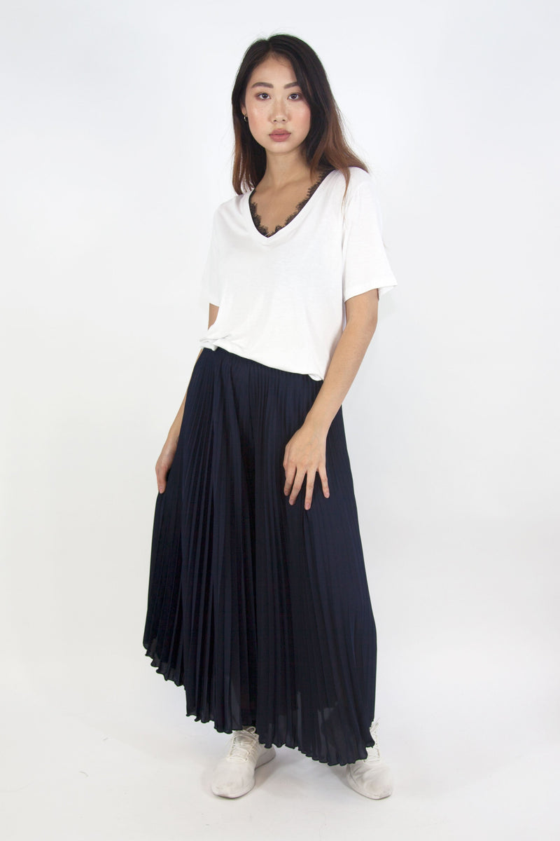 Wide Pleated Pants Navy