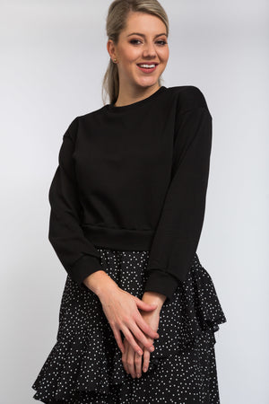 Cancan Dot Dress Black