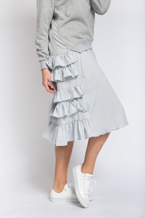 Ruffle Jumper Dress Grey