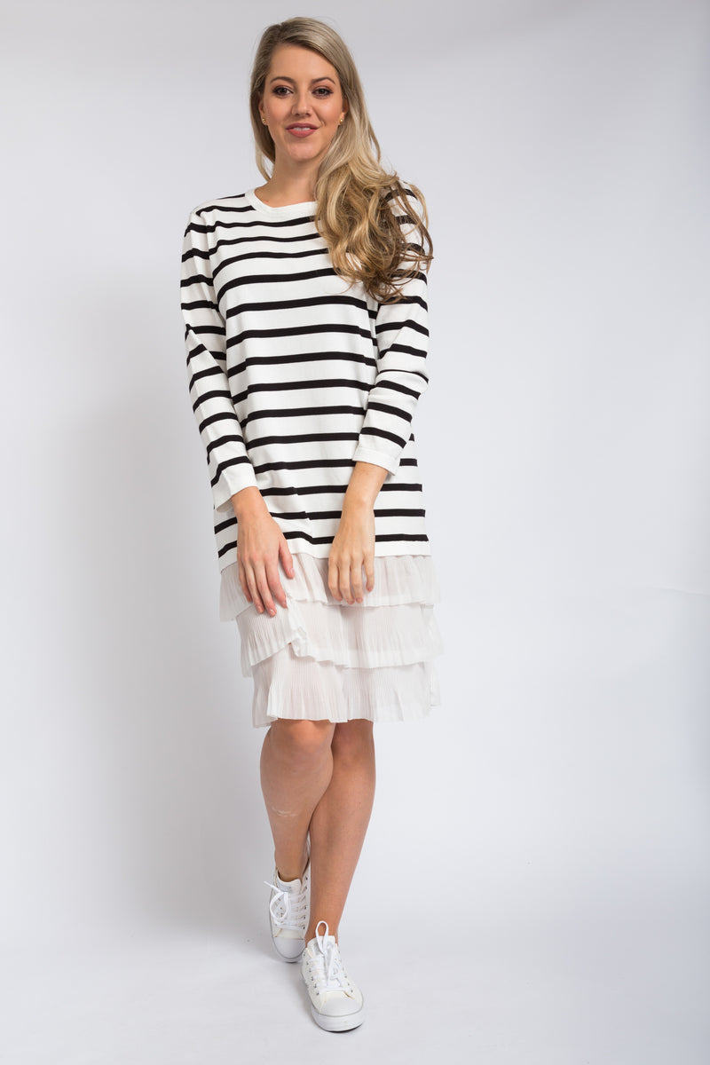 Stripe Cancan Dress Ivory