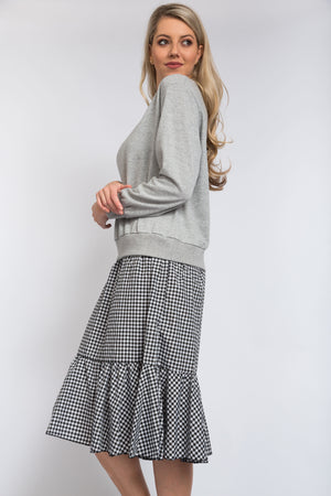 Check Jumper Dress Grey