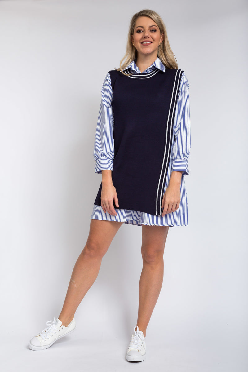 Kendall Layered Dress Navy