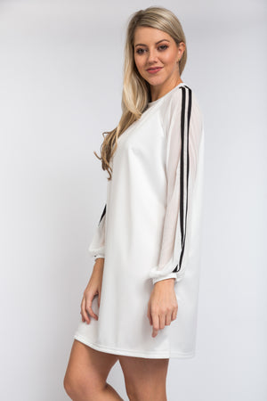 Chiffon Sleeve Dress Ivory
