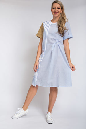 Emma Pintuck Dress Beige