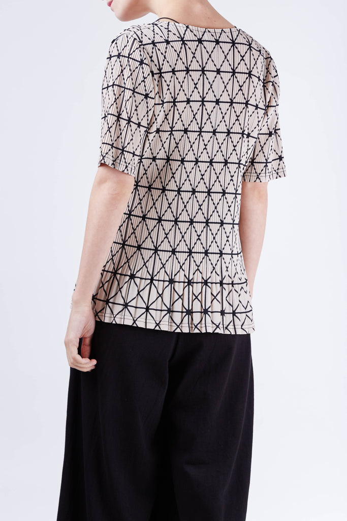 Geometric Pleated Top Beige