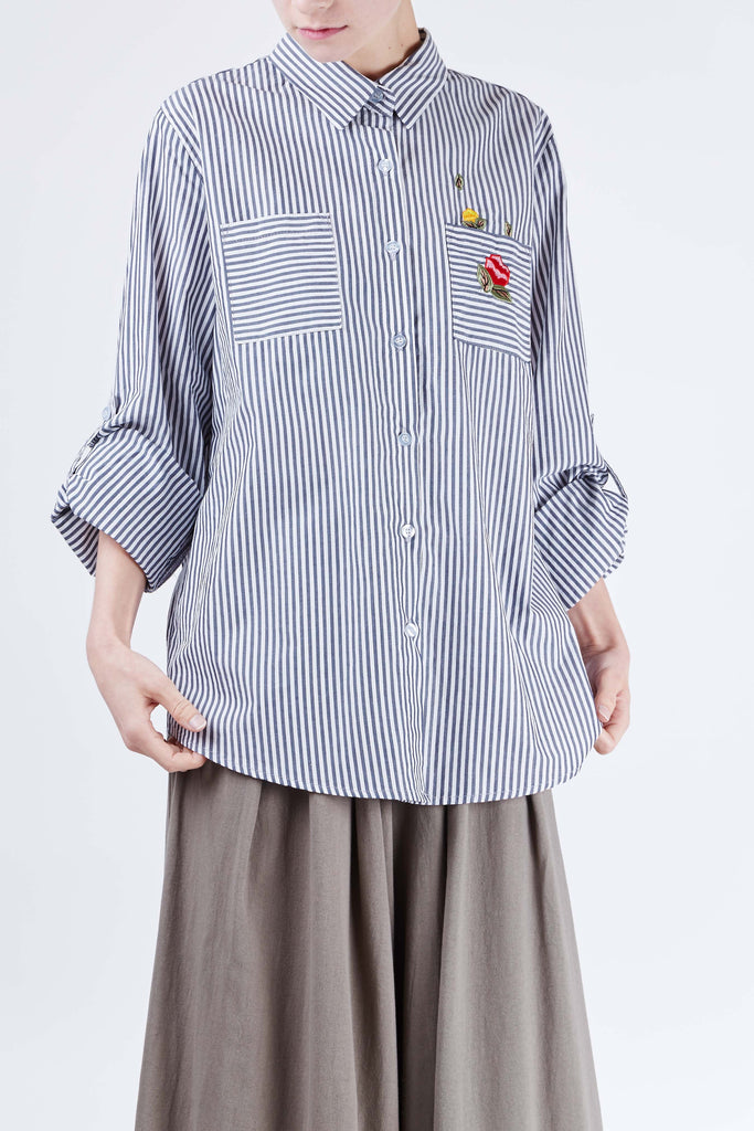 Rose Embroidery Shirt Navy