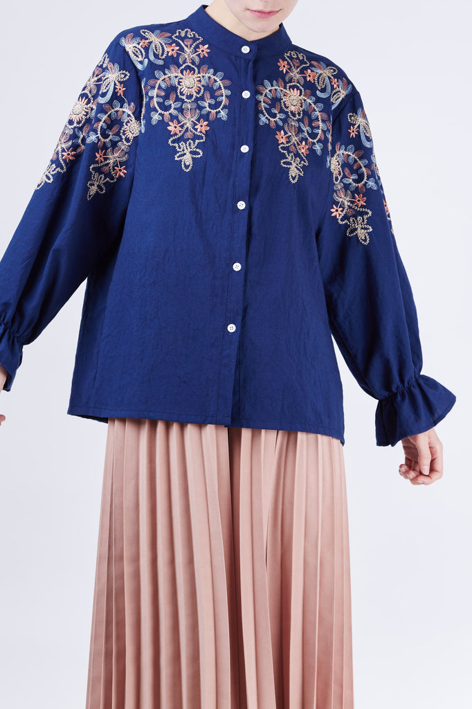 Flower Embroidery Shirt Navy