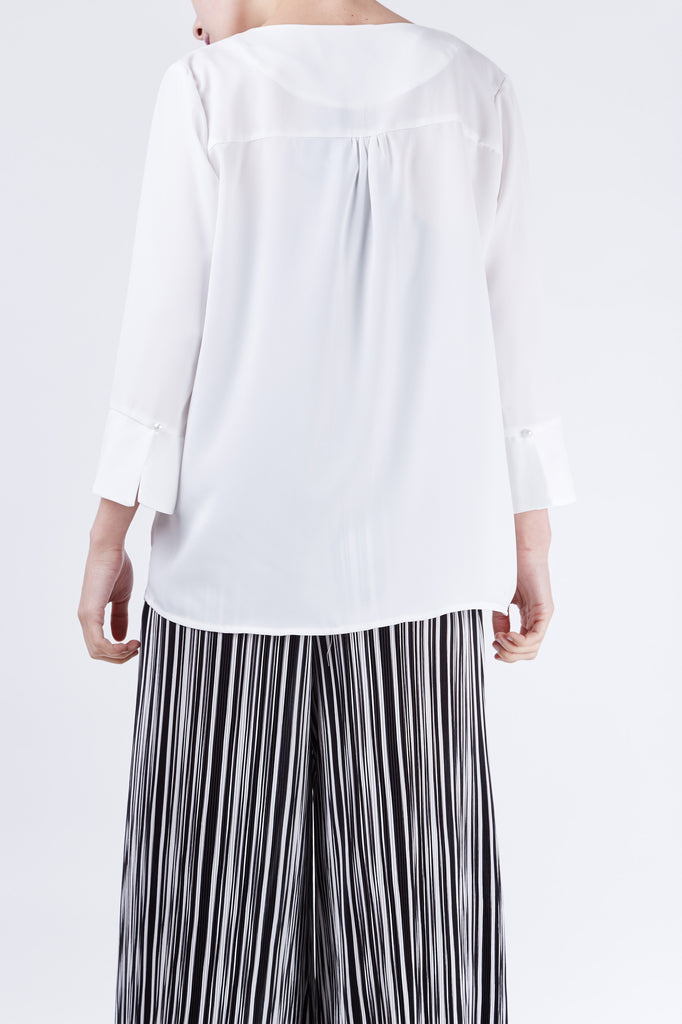 Stripe Pleated Pants Black