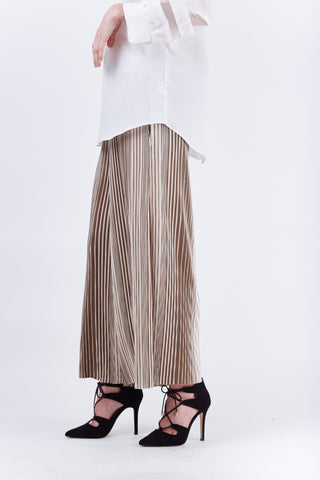Stripe Pleated Pants Beige