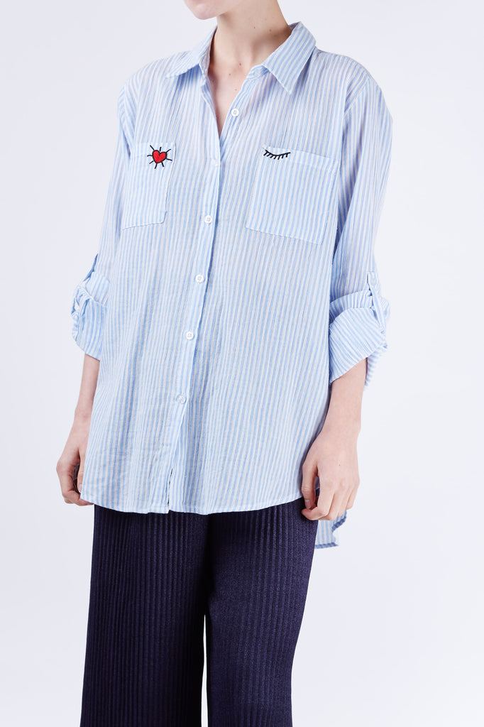 Heart Embroidery Shirt Blue