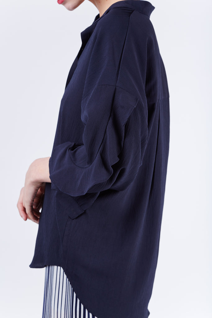 Ruffle Sleeve Top Navy