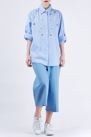 Icecream Embroidery Shirt Blue