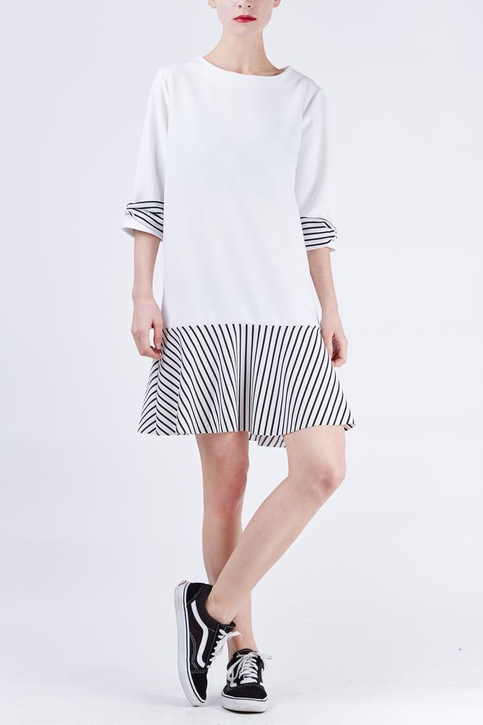 Carmen Stripe Dress Ivory
