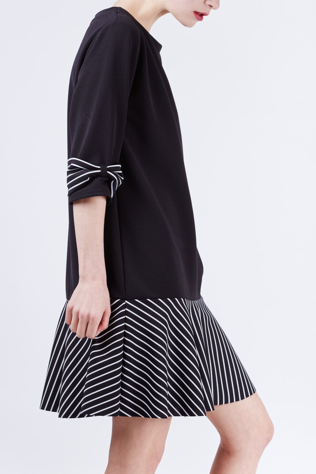 Carmen Stripe Dress Black