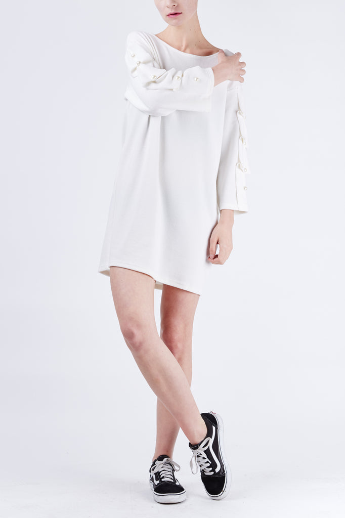 Folded Sleeve Dress Ivory