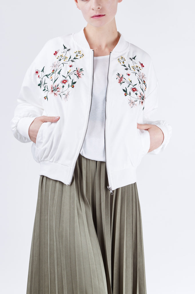 Embroidery Bomber Jacket Ivory