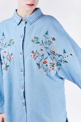 Flower Embroidery Shirt Blue
