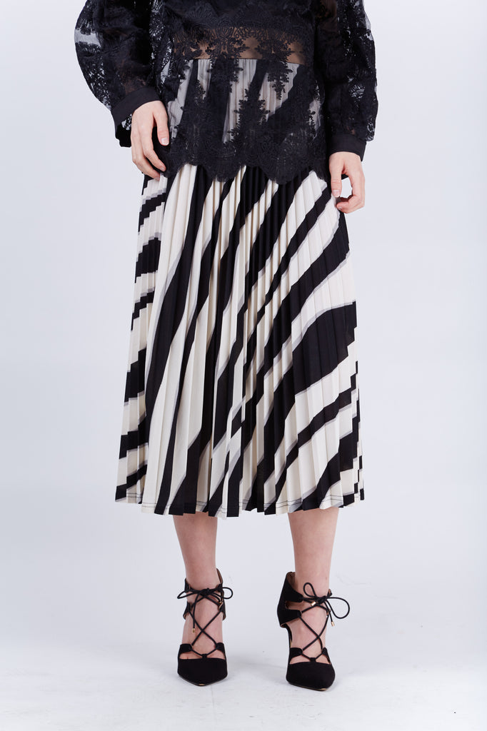 Zebra Pleated Skirt Beige