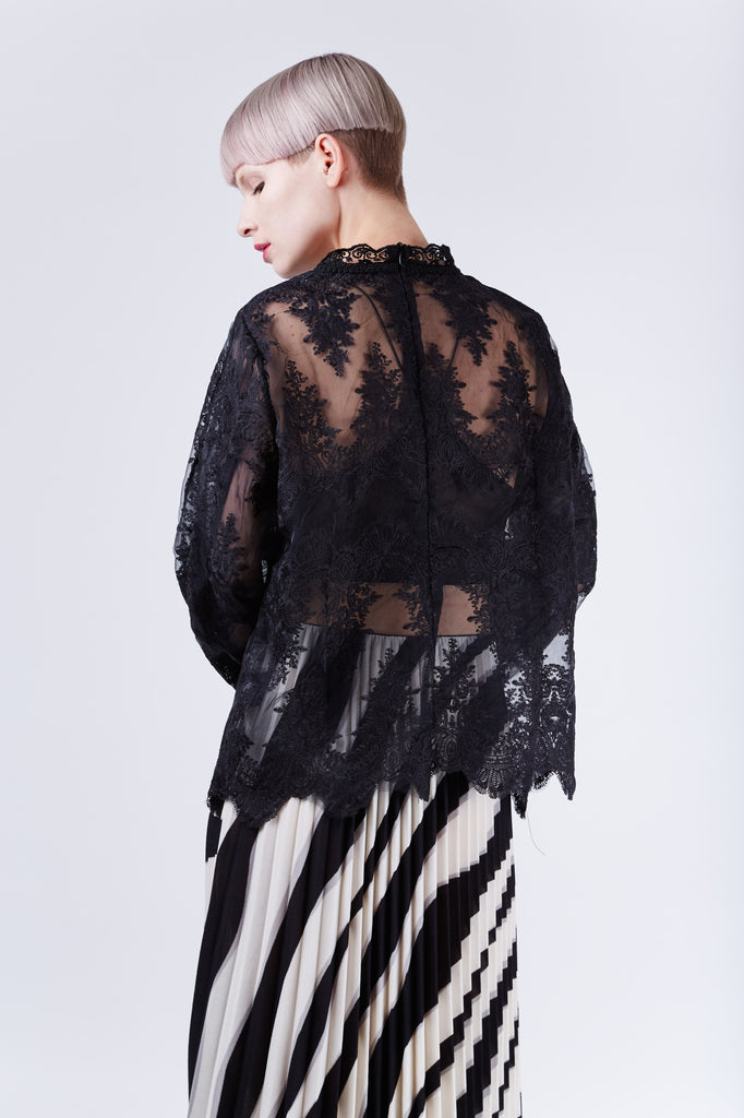 Organza Lace Top Black
