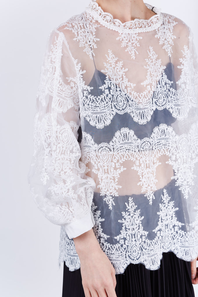 Organza Lace Top Ivory
