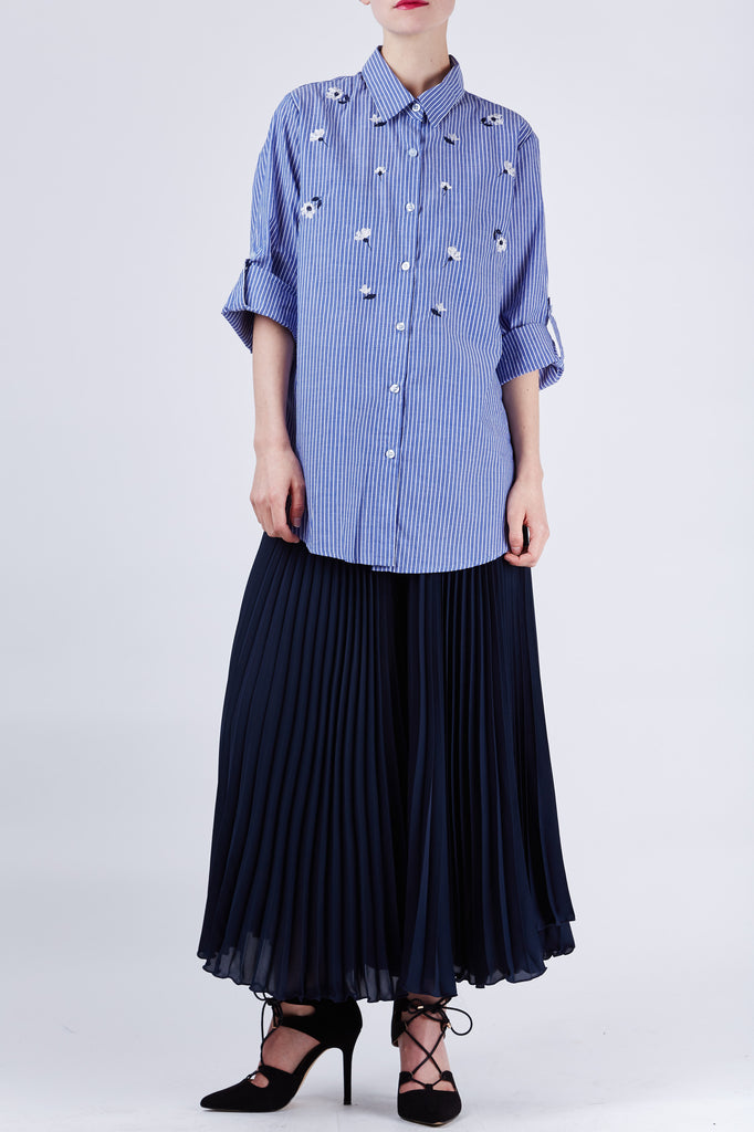 Margaret Embroidery Shirt Navy