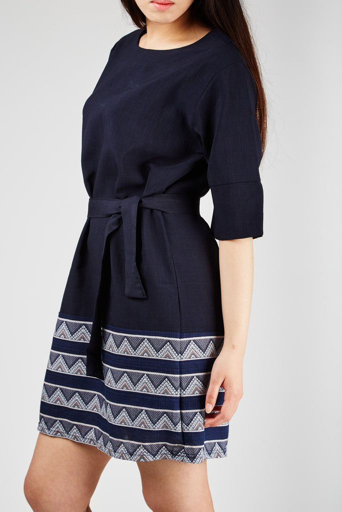 Claire Belted Dress Navy
