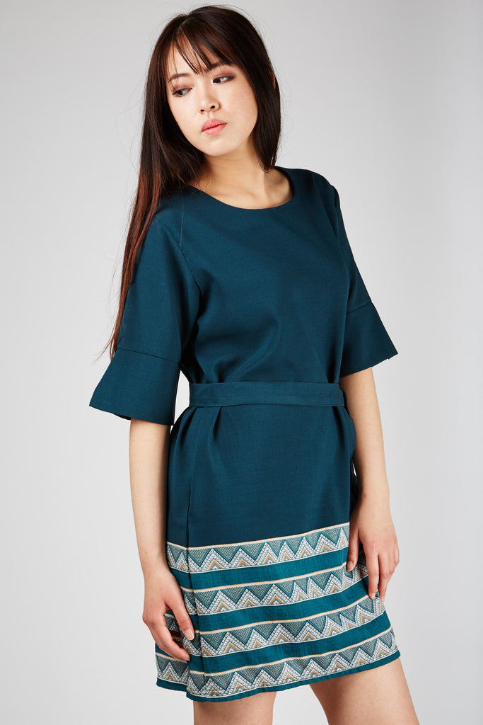 Claire Belted Dress Green