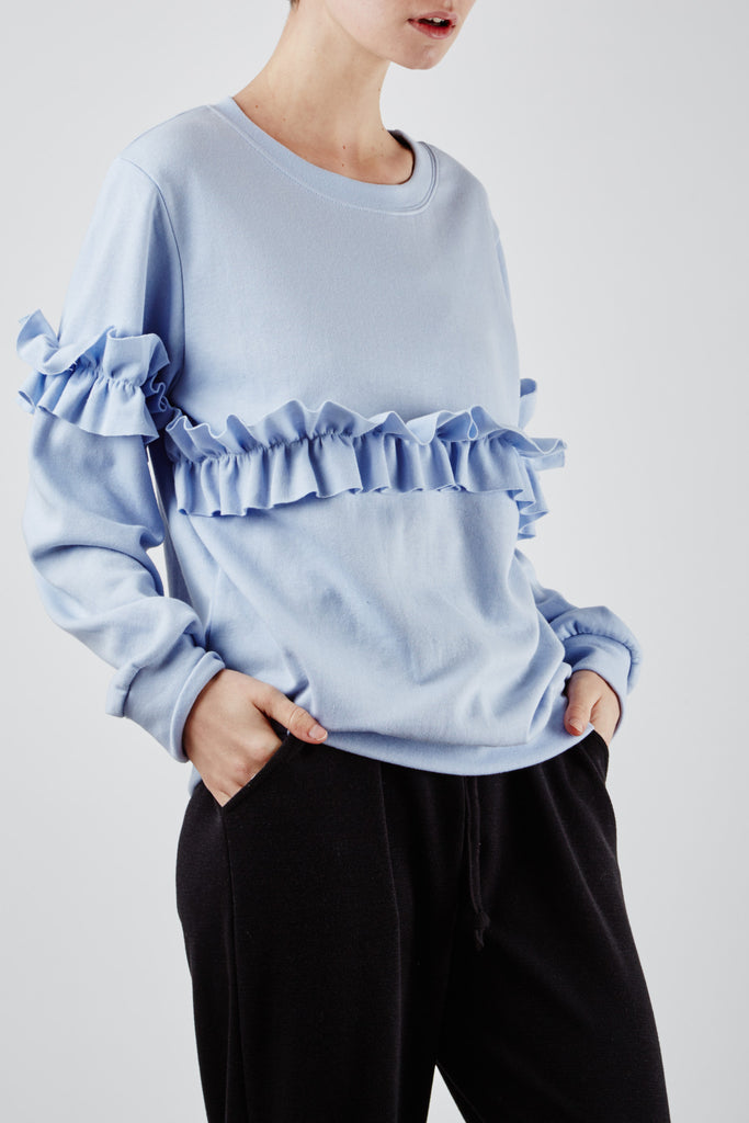 Cristina Ruffle Top Blue