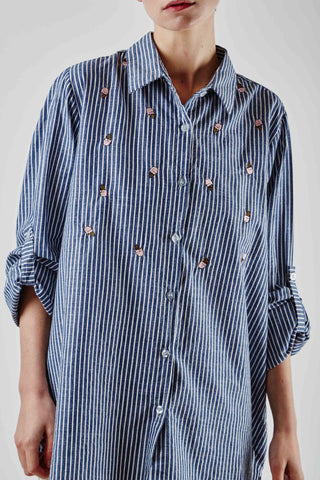 Icecream Embroidery Shirt Navy