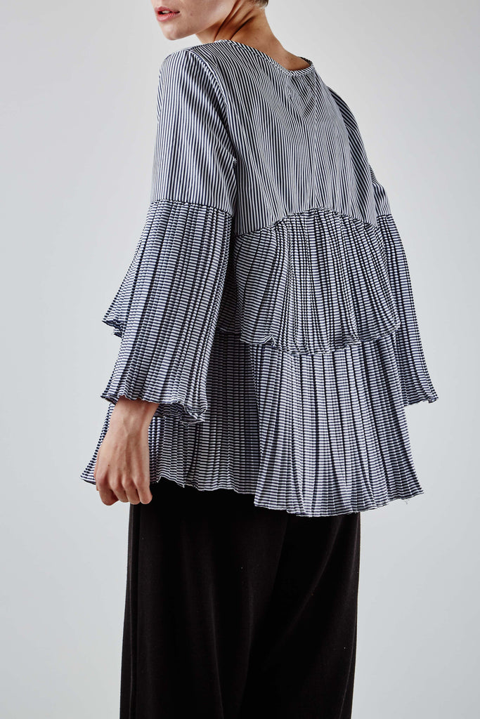 Stripe Ruffle Top Black