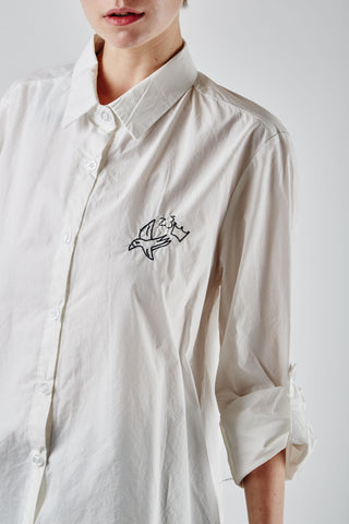 Bird Embroidered Shirt Ivory
