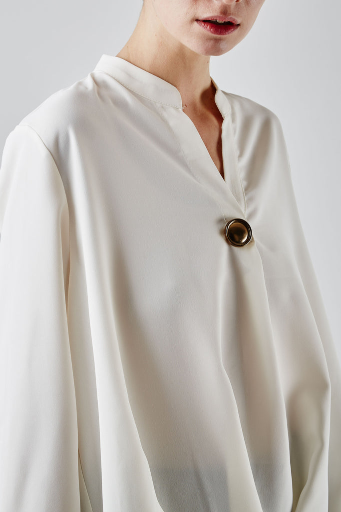 Brooch Pintuck Tunic Ivory