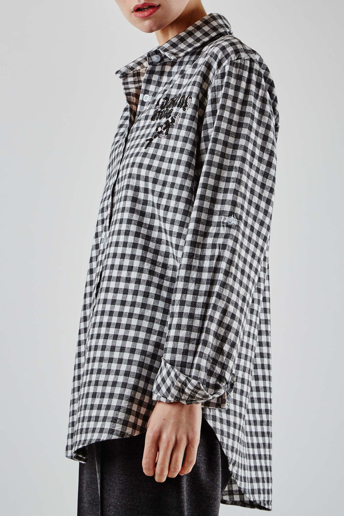 Sequin Check Shirt Black