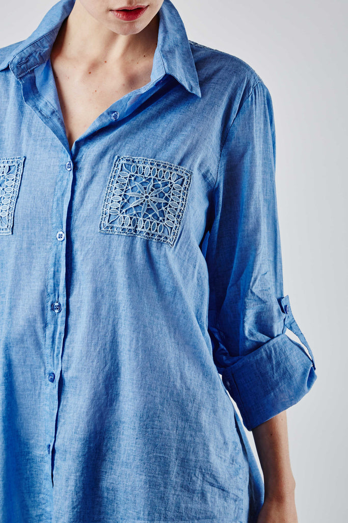 Jesy Embroidered Shirt Blue