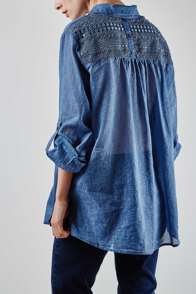 Erica Lace Shirt Blue