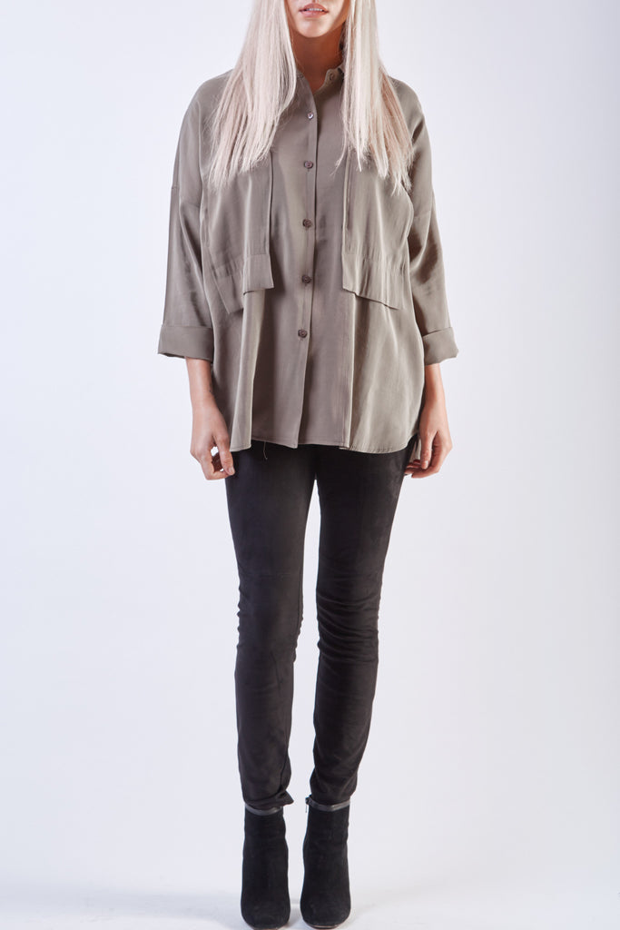 Kate Pocket Shirt Dark Grey