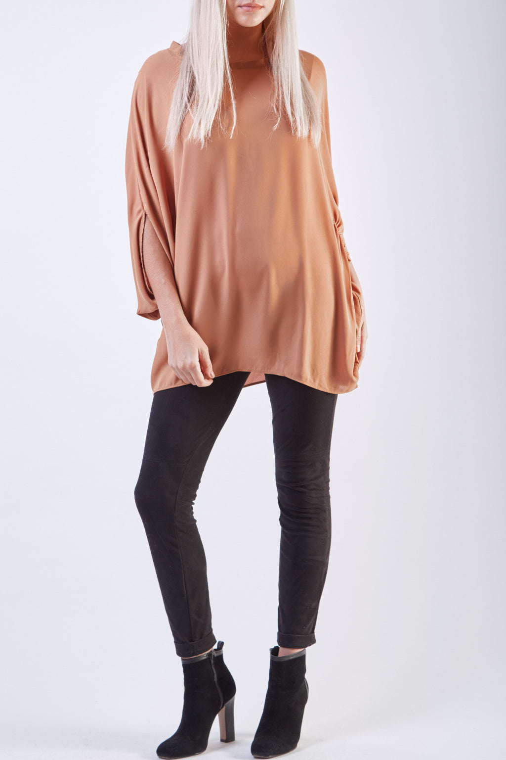 Bow Neck Tunic Camel