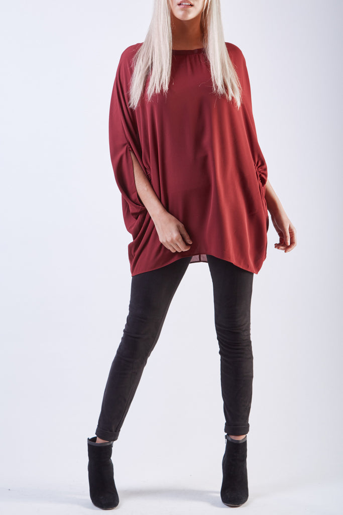 Bow Neck Tunic Wine