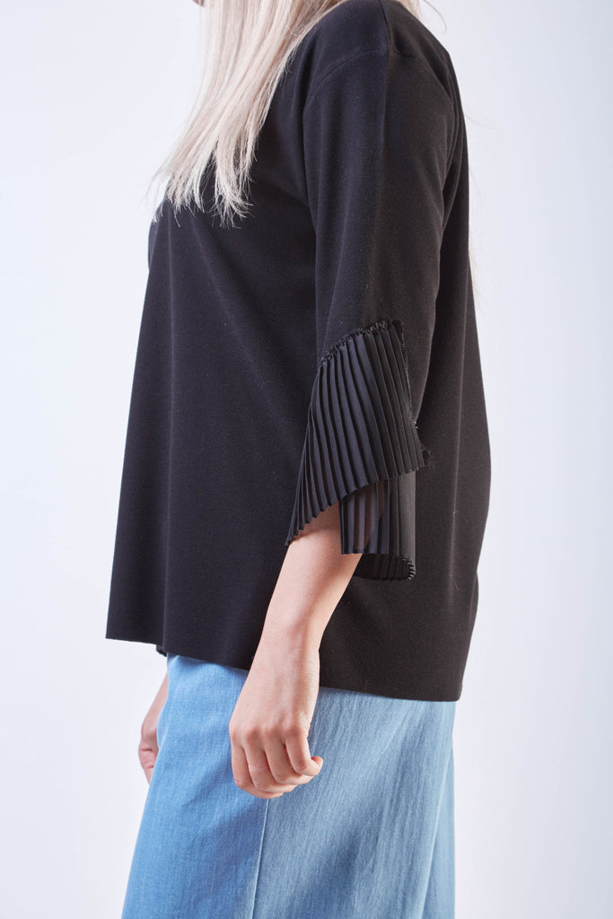 Pleated Sleeve Top Black