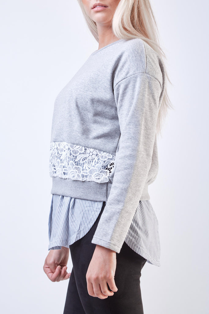Silvia Lace Tunic Grey