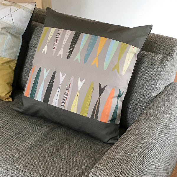 cushion - FISH TAILS GREY - CU018 - E A R T H W O R K S