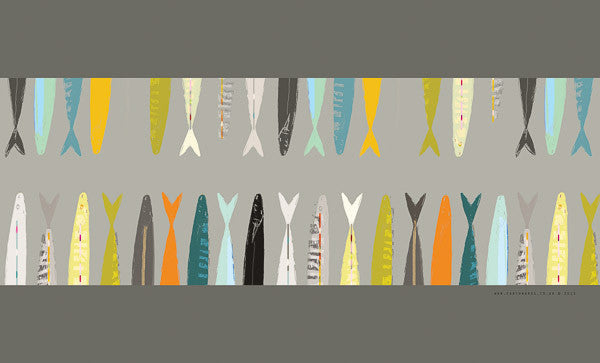 tea towel - FISH TAILS GREY - E A R T H W O R K S