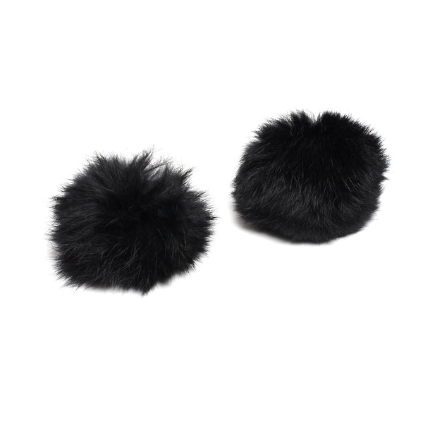 Pom Pom Shoe Clips - Rabbit Fur Black