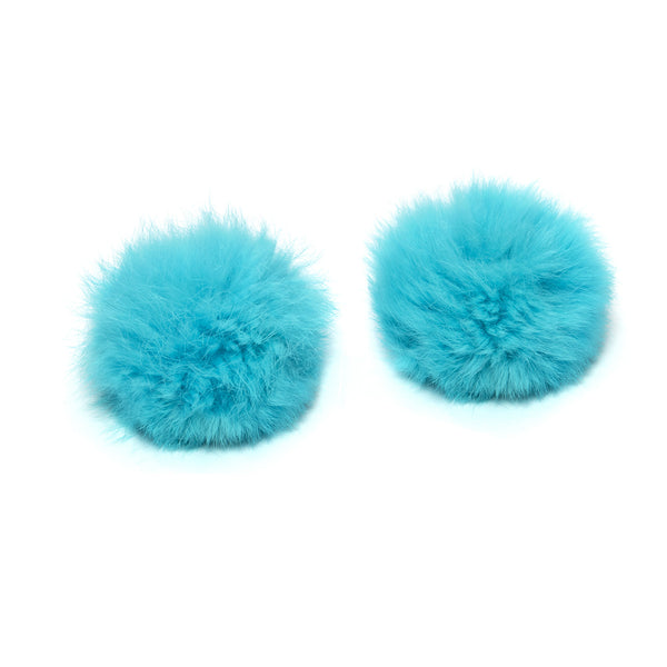 Pom Pom Shoe Clips - Rabbit Fur Blue