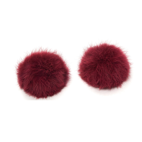 Pom Pom Shoe Clips - Rabbit Fur Burgundy